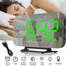 Часы будильник настольные DS-3625L электронные + термометр USB DC5V, зеркальные, зеленые цифры