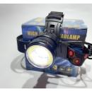 Фонарь налобный аккумуляторный 18650 х2 Police BL-8004-T6+COB зарядное 220В-12В, Фокусировка