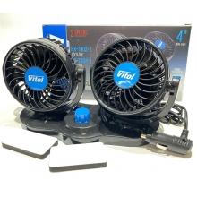 """Вентилятор двойной в машину 12 вольт от прикуривателя HX-T303-1 4"""" 12V 6.5W поворотный, 2 скорости"""
