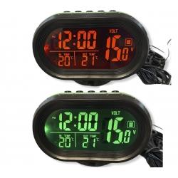 Часы - термометр - вольтметр VST - 7009V (зеленая/оранжевая)