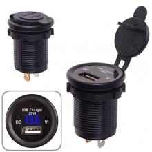 Автомобильное зарядное устройство 1 USB 12-24V врезное в планку + вольтметр (10247 USB-12-24V 2,1A B