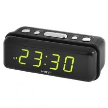 Часы VST VST-738 настольные 220В будильник Черный корпус Светло зеленые цифры