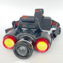 Налобный фонарь Bailong Police BL-861A-T6 + 2COB - 50000W / 2 аккум. / ЗУ 220-12В