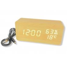 Часы электронные настольные + термометр + гигрометр + будильник VST-862S-6 бежевые / белая подсветка USB DC5V / 4 ААА