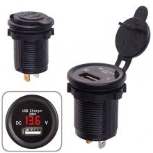Автомобильное зарядное устройство 1 USB 12-24V врезное в планку   вольтметр (10246 USB-12-24V 2,1A R