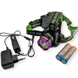 Налобный аккумуляторный фонарь Police BL-8003 T6+COB зарядное 220В-12В, аккум. 2х18650