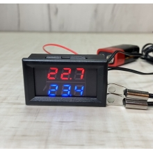 Цифровой термометр с двумя выносными датчиками температуры -20°C ~ 110°C  6 - 28 вольта Врезной (клеммы)