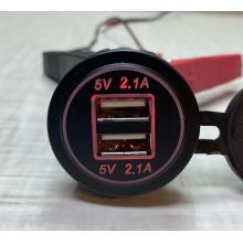 Автомобильное зарядное устройство на 2 USB по 2.1А 12В-24В врезное в планку (встроенная USB зарядка в авто) Красная
