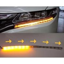 Гибкие дневные ходовые огни с бегущим поворотом и влагозащитой ДХО LED DRL 2шт по 50см белый/желтый