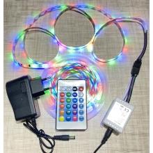 Светодиодная лента 2835 220 вольт c пультом, блоком питания и контроллером RGB 5м, 60 led на 1м