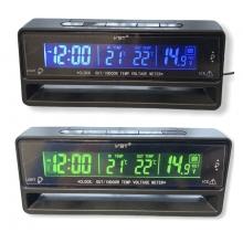 Часы - термометр - вольтметр VST 7010V зеленая/синяя подсветка