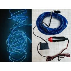 Гибкий неоновый шнур в салон авто 5 м в прикуриватель (с инвертором) Синий