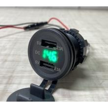 Автомобильное зарядное устройство 2 USB по 2.1А 12-24V врезное в панель + вольтметр Green