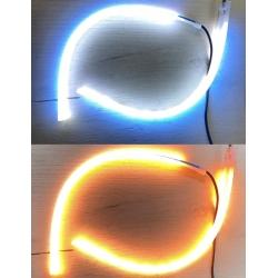 Ходовые огни с бегущим поворотом (ДХО белый + бегущий желтый) 2шт по 30см в термоусадке плоские на скотче (встроенный контроллер)