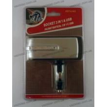 Разветвитель прикуривателя на 3 гнезда c USB KST-0143
