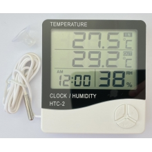 Термогигрометр 2 температуры HTC-2 часы будильник метеостанция с выносным датчиком