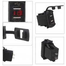 Автомобильное врезное USB зарядное устройство 2 х 2.1А + вольтметр 12-24V Красное