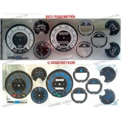Вставки в панель приборов ВАЗ 2106, Нива черно-белая синий просвет
