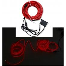 Гибкий неоновый шнур в салон авто 5 м в USB (с инвертором) Красный