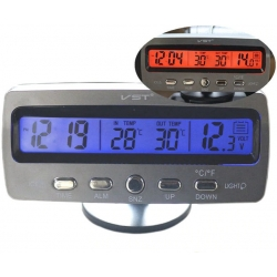 Часы-термометр-вольтметр VST - 7045V (переключ син/оранж) 12В-24В