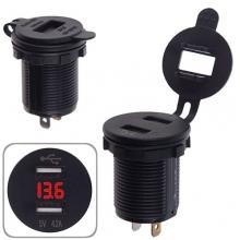 Автомобильное зарядное устройство 2 USB 12-24V врезное в планку + вольтметр (10253 USB-12-24V 4.2A R