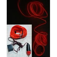 Неоновая контурная подсветка салона авто 5 м от прикуривателя (с инвертором) Красная