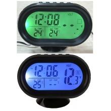 Часы - термометр - вольтметр VST - 7009V (зеленая/синяя)