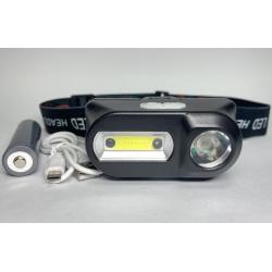 Маленький налобный фонарик с аккумулятором и USB зарядкой BL-1804A COB + XPE + Sensor движения