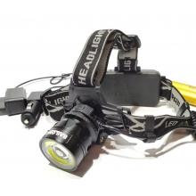 Налобный фонарь для рыбалки Police BL-2150-T6 COB зарядное 220В-12В, аккумуляторы 2х18650