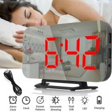 Часы будильник настольные DS-3625L электронные + термометр USB DC5V, зеркальные, красные цифры