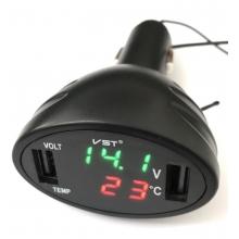 Зарядка в прикуриватель USB х2 + термометр + вольтметр 12В - 24В VST - 708 Черный