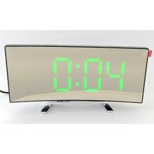 Электронные LED часы   будильник   термометр настольные сетевые DT-6507 USB DC5V / 3 ААА, изогнутые зеркальные, Зеленые