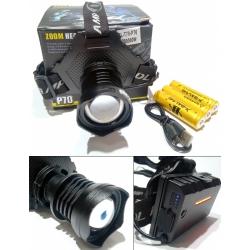 Мощный налобный фонарь Police T70Pro HP70 ЗУ micro USB, аккумуляторы 3x18650, Zoom, Power Bank