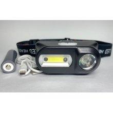 Маленький налобный фонарик с аккумулятором и USB зарядкой BL-1804 COB + XPE
