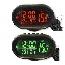 Часы - термометр - вольтметр VST - 7009V (зел/оранж)