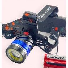 Мощный налобный фонарь для рыбалки Police BL-8006 T6+COB / WD127 аккумуляторный 2х18650, ЗУ 220В/12В