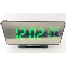 Часы сетевые настольные + будильник + термометр + гигрометр VST-888Y USB DC5V, зеркальные, зеленые
