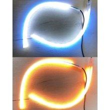 Ходовые огни с бегущим поворотом (ДХО белый наборной + бегущий желтый) 2шт по 30см в термоусадке плоские на скотче (встроенный контроллер)