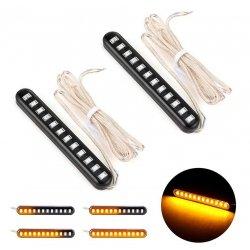 Универсальная светодиодная полоса бегущий поворотник 12 SMD 2835, 8 см, 12В, 2шт