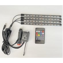 Светодиодная подсветка салона авто RGB led - подсветка ног в авто от прикуривателя, влагозащитная 4 х 22см