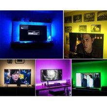 Светодиодная RGB LED подсветка для телевизора и монитора с пультом д/у, USB 2м