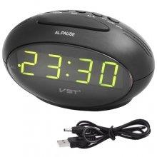 Часы VST VST-711-2 настольные от USB будильник, светло зеленые цифры