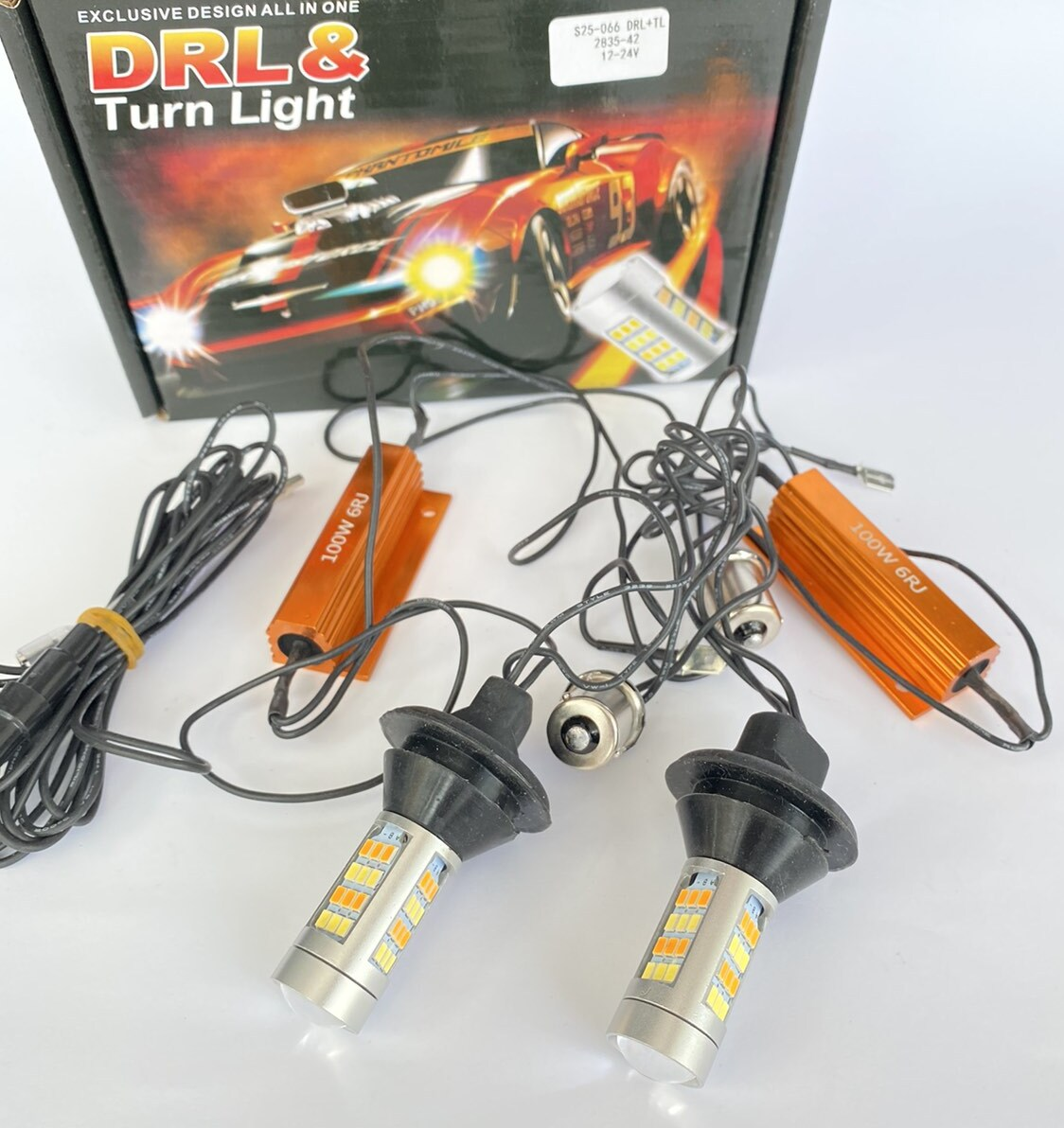 Светодиодная LED лампа ДХО с поворотом + габарит CAN S25-066 DRL+TL 2835-42