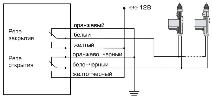 Схема подключения интерфейса Fantom FT-227 к приводам центрального замка