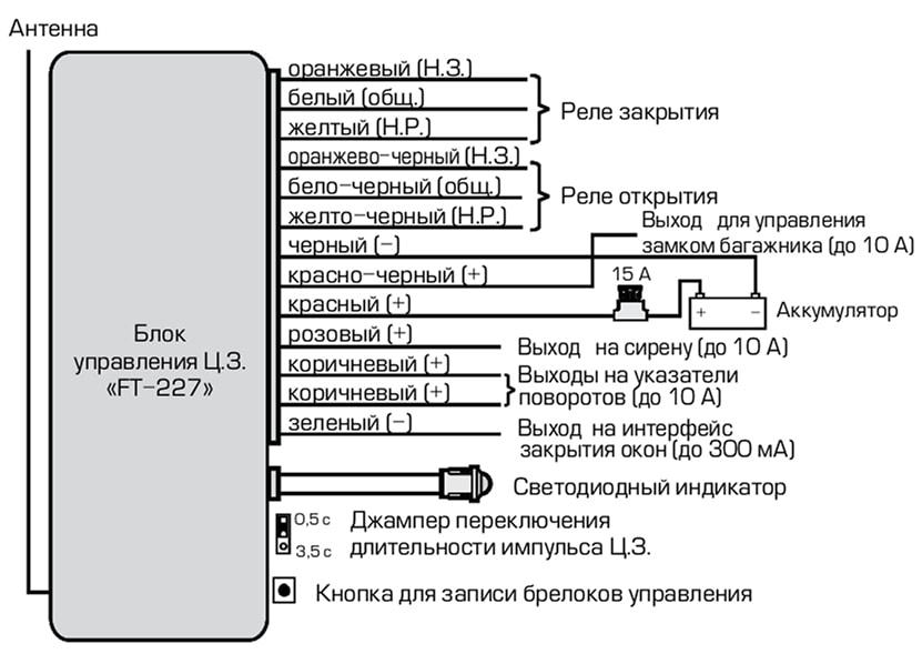 Fantom центральный замок схема подключения