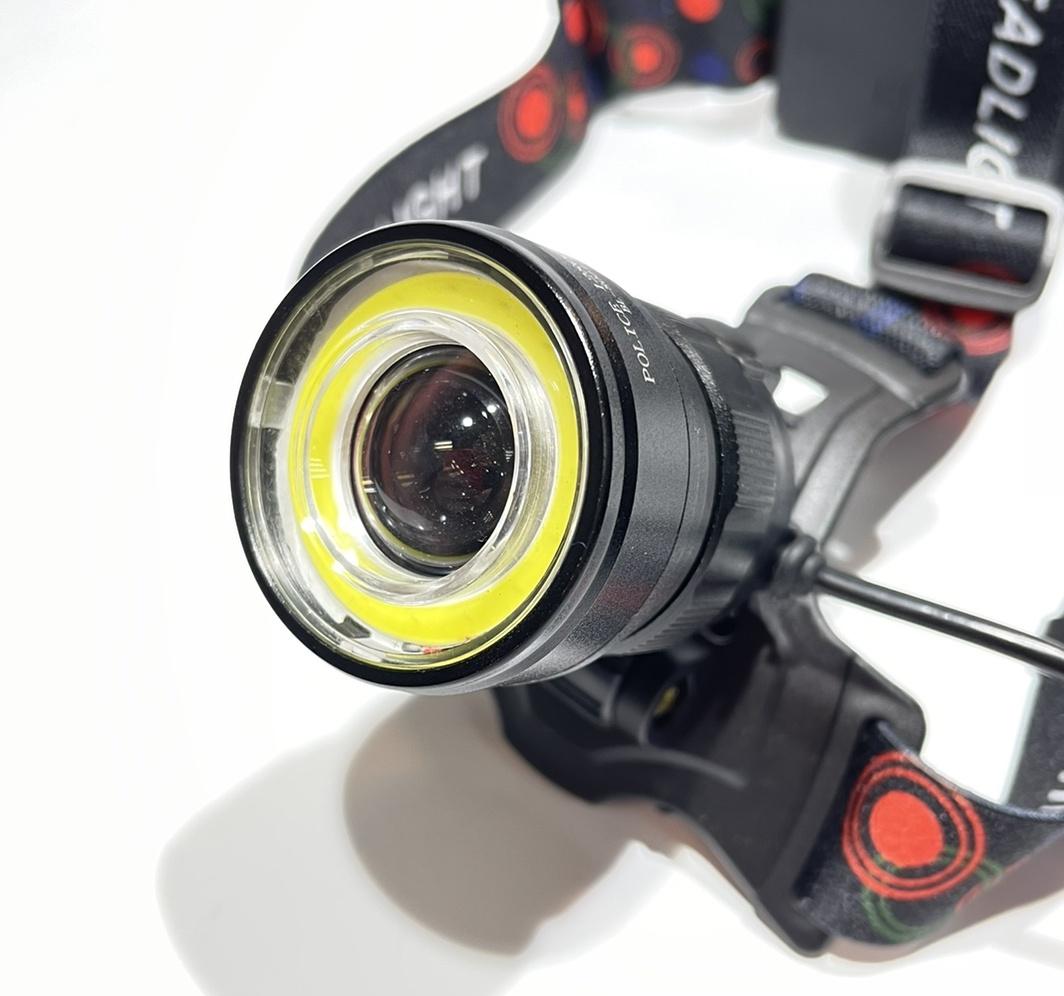Фото линзы фонаря налобный аккумуляторный 18650 х2 Police BL-8004-T6+COB зарядное 220В-12В, Фокусировка