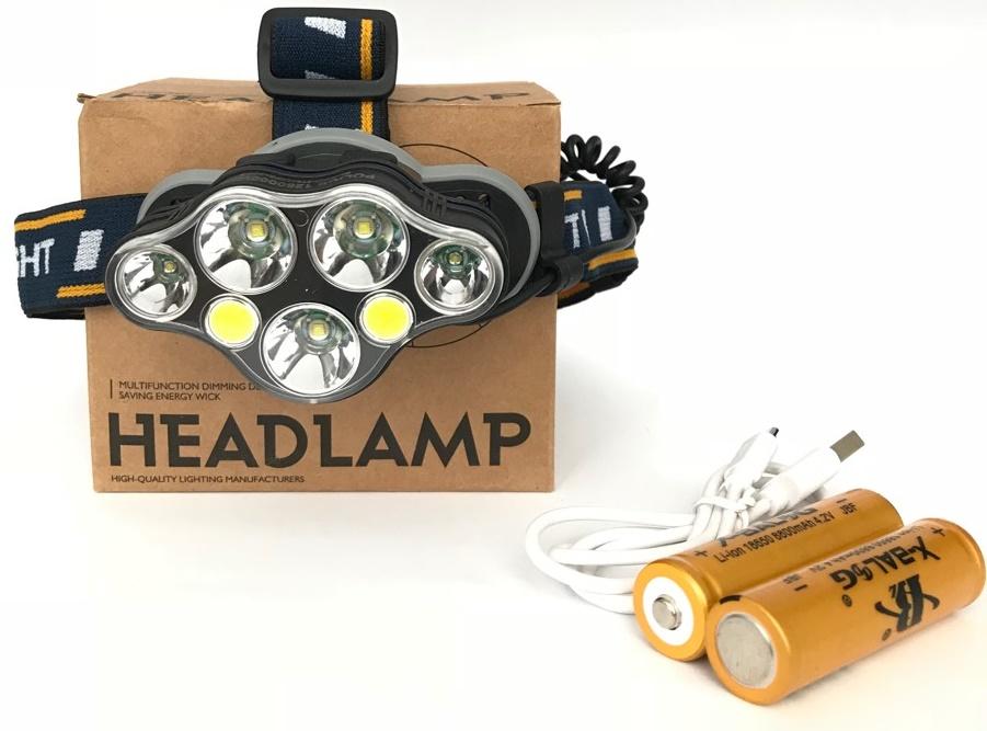 Комплектация мощного налобного аккумуляторного фонаря Police BL-KC07 3T6 2XPE 2COB