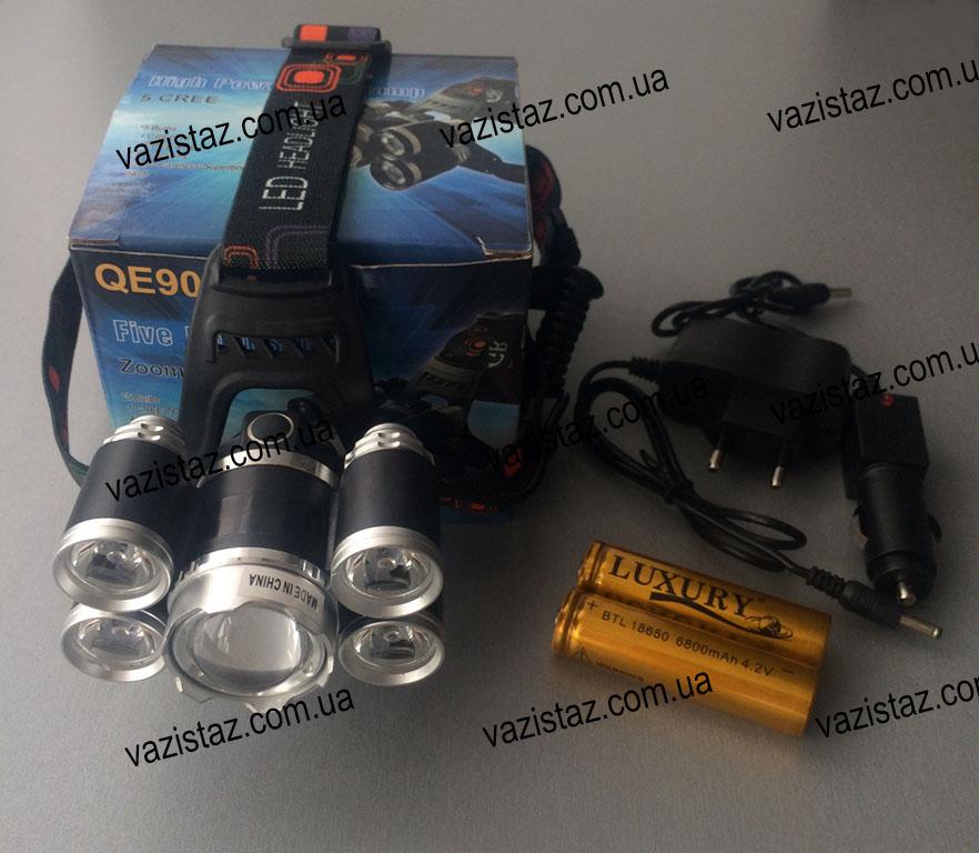 Купить налобный фонарь высокой мощности на аккумуляторе Police RJ-5500 / QE905A-T6 + 4 XPE
