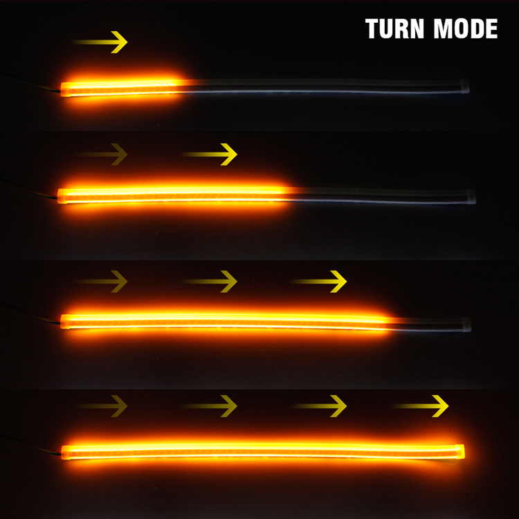 Гибкие дневные ходовые огни с бегущим поворотом ДХО LED DRL 2шт по 60см
