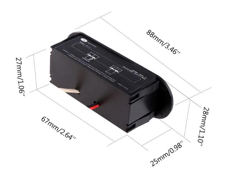 Фото размеров цифрового датчика температуры -20℃ ~ 300℃ - универсальный автомобильный термометр DC 12В врезной без корпуса